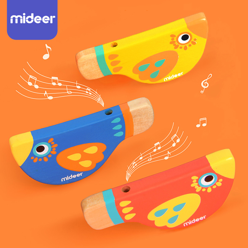 Wooden Toys Baby Musical Toys Bird Whistle Toddler Early Learning Educational Toys For Children Instrument Whistling Game MiDeer