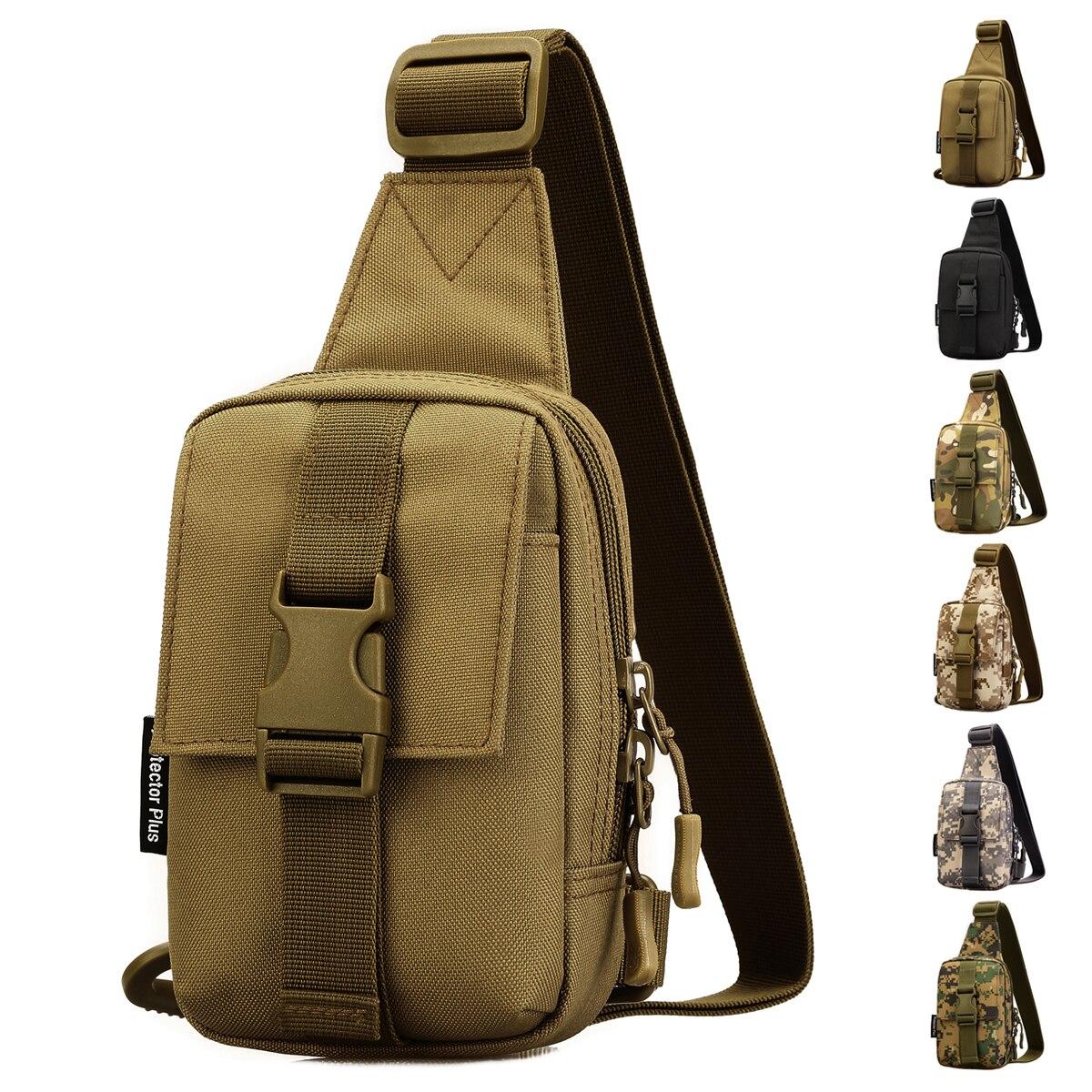 Men Assualt Military Sling Back Day Pack Water Bottle Nylon Messenger Chest Bag