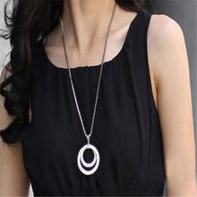 New Fashion Long Chain Pretty Women Fashion Crystal Rhinestone Silver Choker Plated Double Circle Pendant Charm Necklace Gift(China)