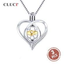 CLUCI 3 pièces argent 925 pendentif médaillon pour femmes collier bijoux 925 en argent Sterling coeur Zircon perle Cage pendentif SC362SB