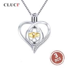 CLUCI 3 sztuk srebro 925 wisiorek medalion dla kobiet naszyjnik biżuteria 925 srebro serce cyrkon Pearl wisiorek klatka SC362SB