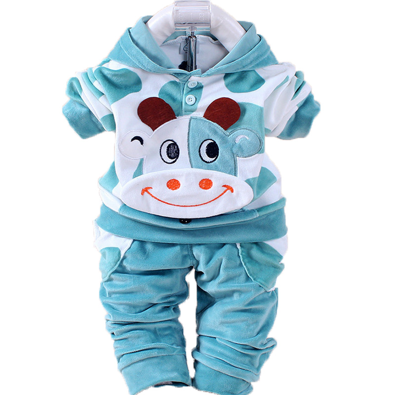 Boys Baby Girls Clothing Set Velvet Sport Newborn Clothes Suit Cow Hello Kitty Long Sleeve Toddler Tracksuit Children Clothes child clothes spring baby boys sports suit boy clothes set new baby girls clothes children tracksuit toddler girls clothing sets