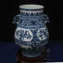 Jingdezhen ceramic vase ornaments hand-painted antique blue three high-grade celebrity figure Tan Fu ears cylinder