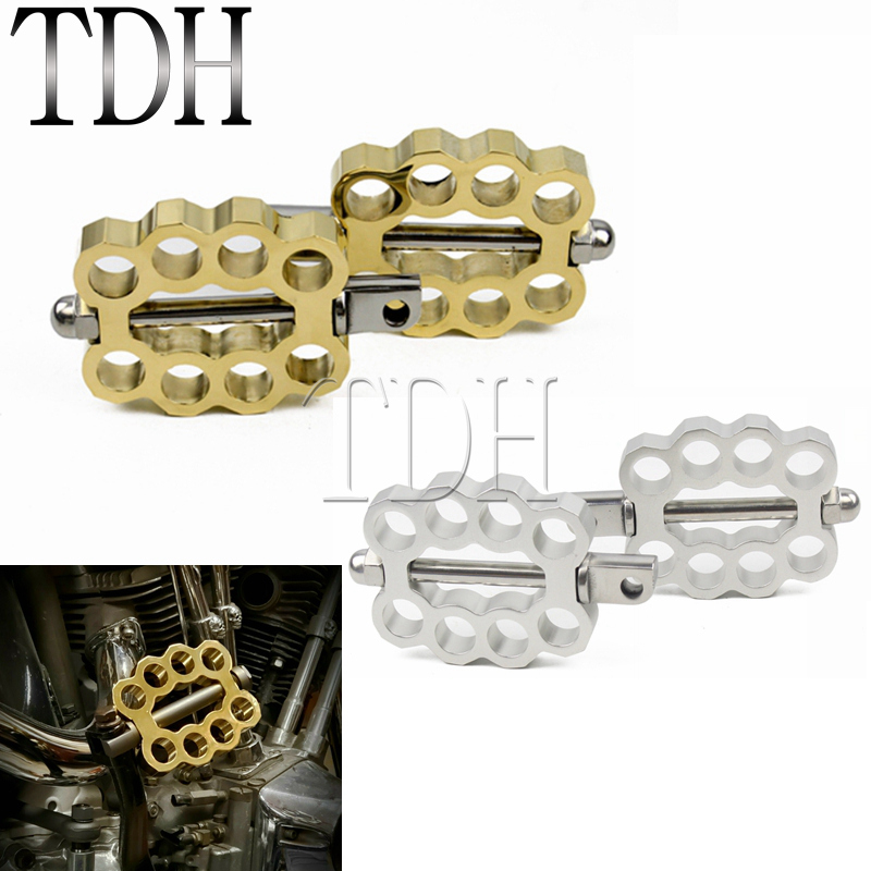 Solid Brass Double Knuckle Foot Peg For Harley XL Dyna Sportster Softail Cafe Racer Bobber Chopper Custom Male Mount Footrests