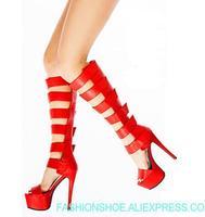 Большие размеры 44 узкая полоса Сандалии, ботинки в гладиаторском стиле летние высокие сапоги до колена на платформе высокие сапоги с пикант
