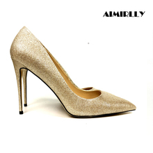 Aimirlly Women Shoes Pointed Toe High Heels Pumps Glitter Autumn Spring Wedding Party Sexy Slip-On Gold