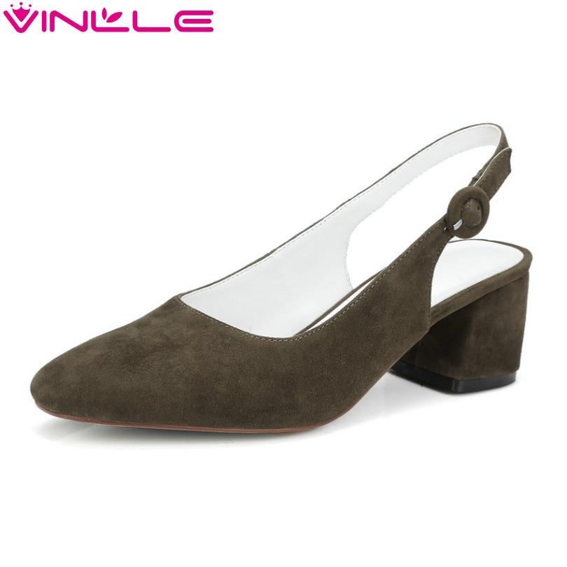 ФОТО VINLLE 2017 Women Pumps Square High Heel Summer Slingbacks Shoes Genuine Leather Pumps Elegant Women Wedding Shoes Size 34-39
