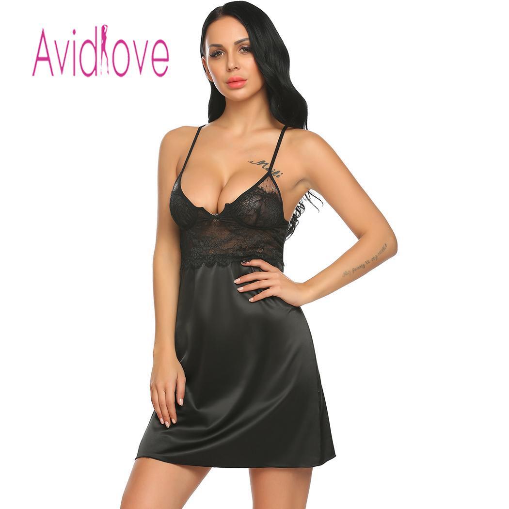 Avidlove Night Dress Women Slim Sexy Lingerie Lace Satin Patchwork Fit Babydoll Chemise Slips Sleepwear Nightgown lenceria