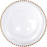 gold glass beaded charger tableware dinner plates dishes dinnerware 1 piece
