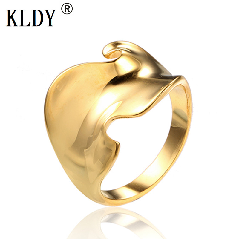 Discreet Kldy Wave Women's Ring Men Gold Silver Stainless Steel Rings Woman Geometric Flower High Quality Fashion Steel Jewelry Wholesale