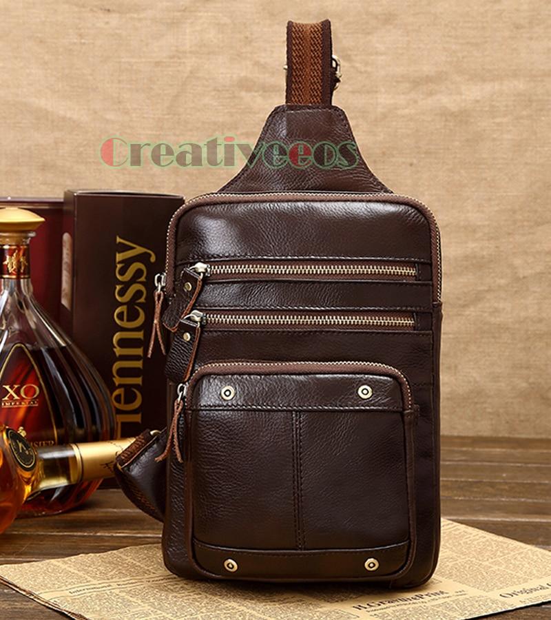 цена на New Men Vintage Genuine Leather Cowhide Travel Sling Pack Shoulder Cross Body Messenger Chest Bag
