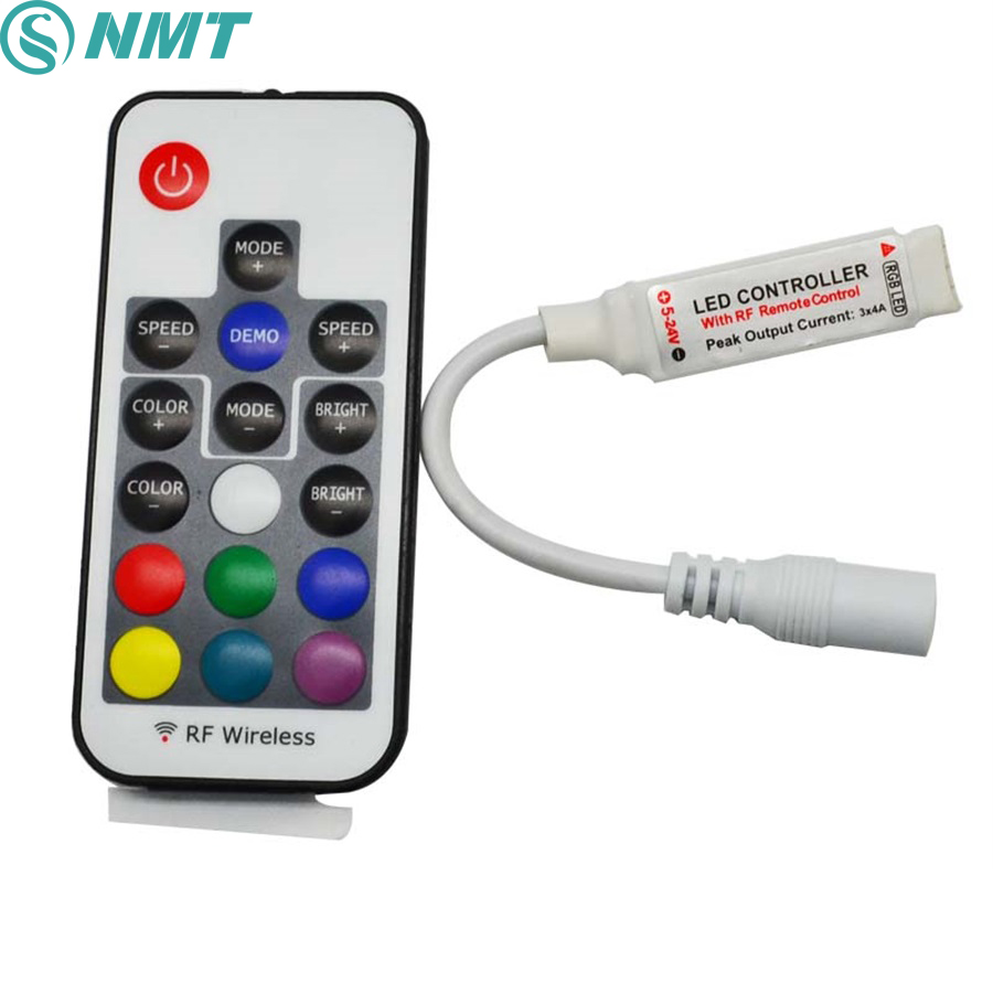 15pcs DC 12V 24V RGB Led Controller Mini RF Wireless 3 Channel 6A Common Anode To Control SMD 5050 Led Strip Light