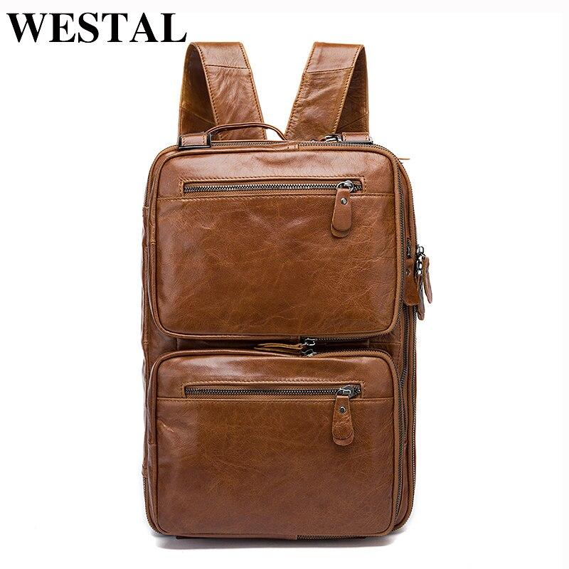 WESTAL Многофункциональный рюкзак Для мужчин из натуральной кожи 14-дюймовый ноутбук рюкзаки для подростка мужской Mochila Повседневное туристич...