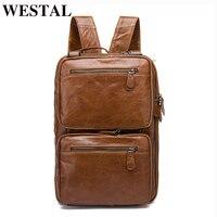 WESTAL Multifunction Backpack Men Genuine Leather 14inch Laptop Backpacks for teenager Male Mochila Casual Travel Backpacks 432