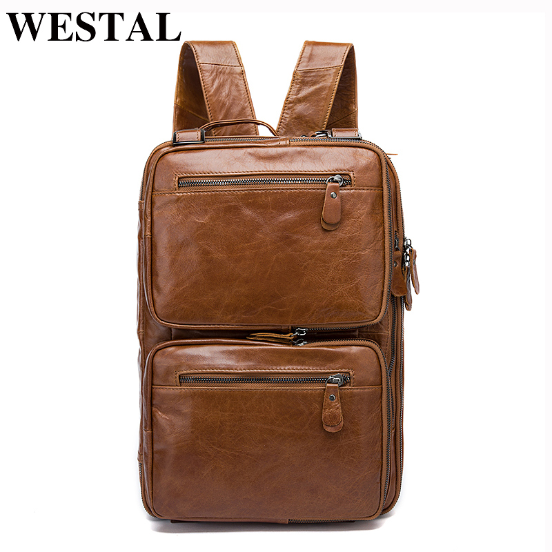 WESTAL Backpack Male Genuine Leather Laptop Backpacks Men Luggage Shoulder Bag Computer Backpacks schoolbag bagpack Men Bag