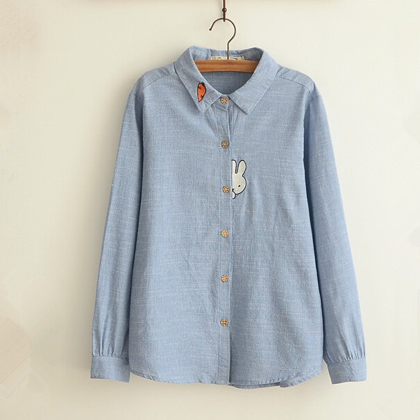 7f3d3ce9024203 Shy bunny cute rabbit applique Carrot embroidery long sleeve shirt girl  vintage blouse women tops 0632