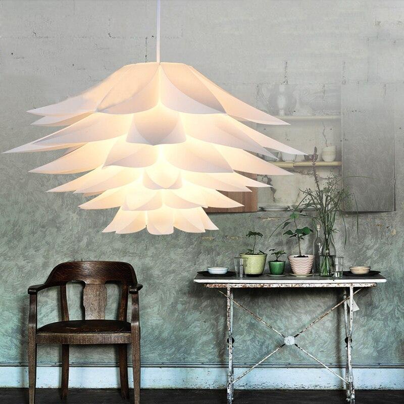Moderne bricolage Lotus Puzzle pendentif abat-jour lustre lampe éclairage lampara Pvc Piec lumières décoration fleur lumière suspendue blanc