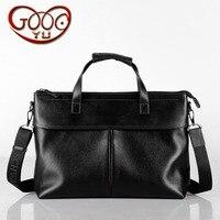 Rivet reinforcement strap portable men's leather men bag leisure business computer bag first soft leather grain briefcase