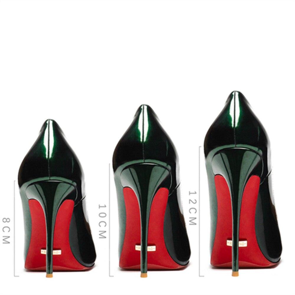 Женские пикантные туфли лодочки; сезон весна лето; туфли из натуральной кожи на высоком каблуке 12 см; свадебные туфли с красной подошвой; сер... - 5