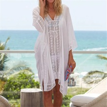 Chiffon Beach Cover up Dress Lace Crochet Kaftan for Women Swimsuit Cover Up openwork lace cover up dress