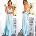 Сексуальные Женщины Голубой Макси Dress Лето Бинты Длинные Dress Многостороннего Конвертируемые Вечерние Партии Бесконечности Платья халат longues