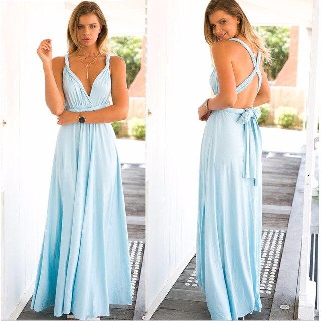 lichtblauwe maxi dress