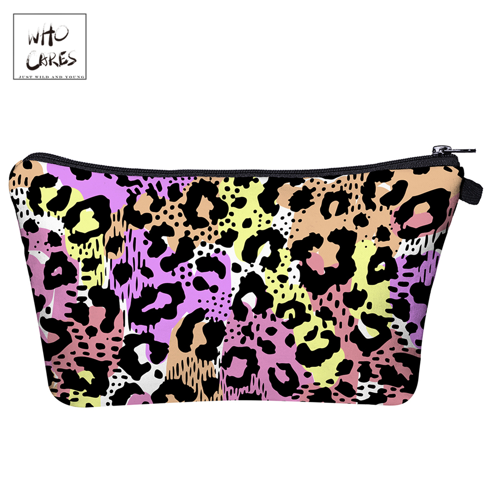 WHO CARES  Colored Leopard 3D Printing Makeup Bags Fashion Cosmetic Organizer Bag Travel Ladies Pouch Women Cosme Bag