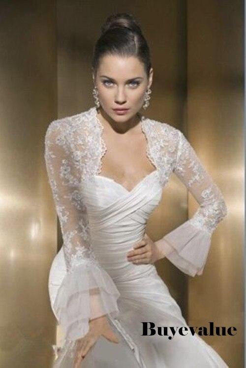 À manches longues en dentelle ivoire châle Bolero veste de mariée de mariée boléro Wraps taille personnalisée T45