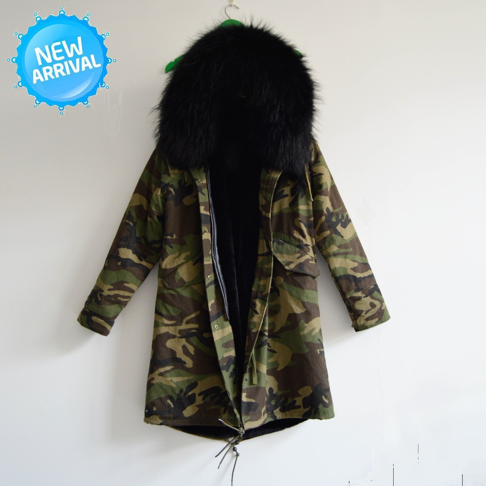 Men Winter Overcoat Camouflage Arctic Large Fur Jacket,Black Long Camouflag Mility Fur Coats For Winter