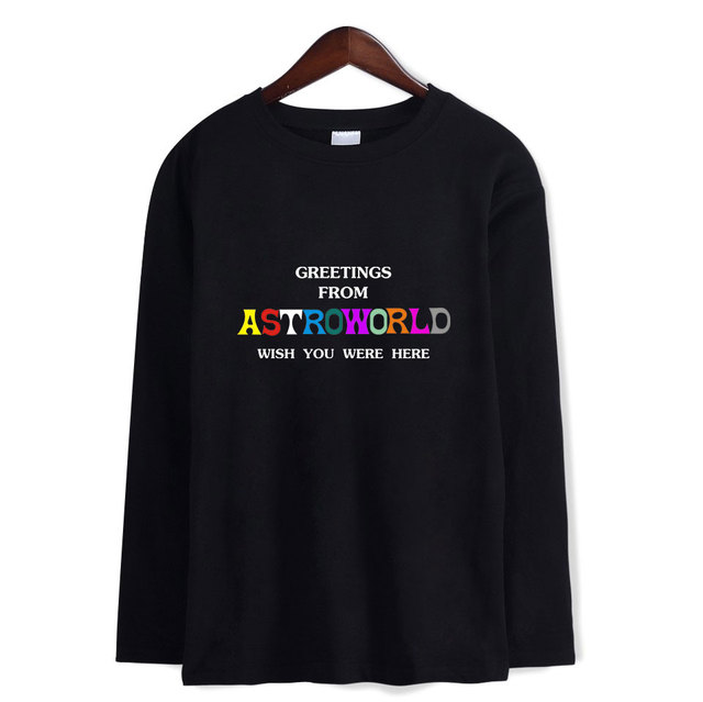 2d61045119d2 GREETING FROM ASTROWORLD WISH YOU WERE HERE Men/Women O-Neck Long Sleeves T  Shirts Kpop Hip Hop Harajuku Streetwear Casual Tops