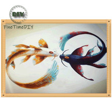 FineTime Lucky Fish 5D DIY Diamond Painting Partial Drill Diamond Embroidery Cross Stitch Animals Mosaic Painting finetime lucky fish 5d diy diamond painting partial drill diamond embroidery cross stitch animals mosaic painting