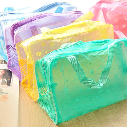 Fashion Travel Cosmetic Bag Women PVC Floral Transparent Waterproof  Makeup Bag Toiletry Wash Pouch Organizer Bag