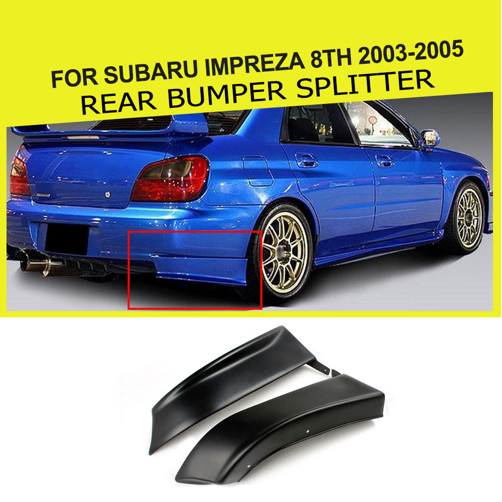 Auto Car Rear Bumper Side Chin Lip Splitters Apron Flags Cupwings PU Unpainted Black Primer For Subaru Impreza 8th 2003-2005