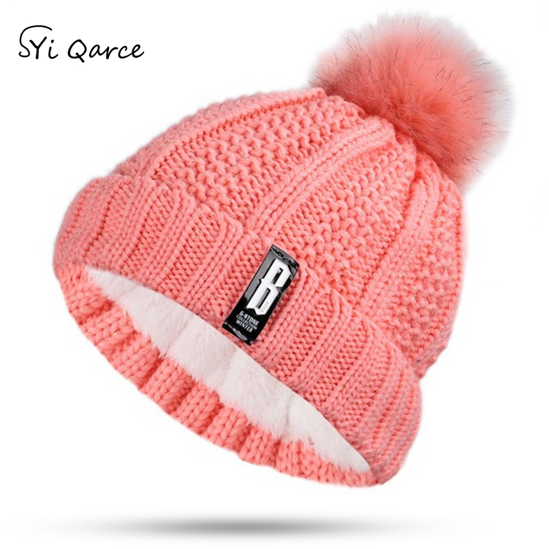SYi Qarce Higth Quality Letter B Women Winter Warm Thick Knitted Hat with Hairball   Beanie     Skullies   Cap for Women Men NM263-69