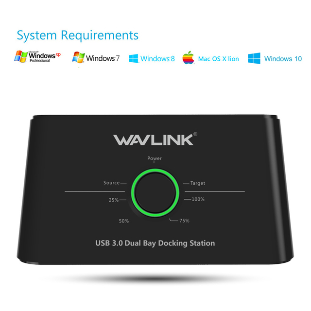 Wavlink Dual Bay SATA to USB3.0 External Hard Drive Docking Station for 2.5/3.5inch HDD/SSD 3