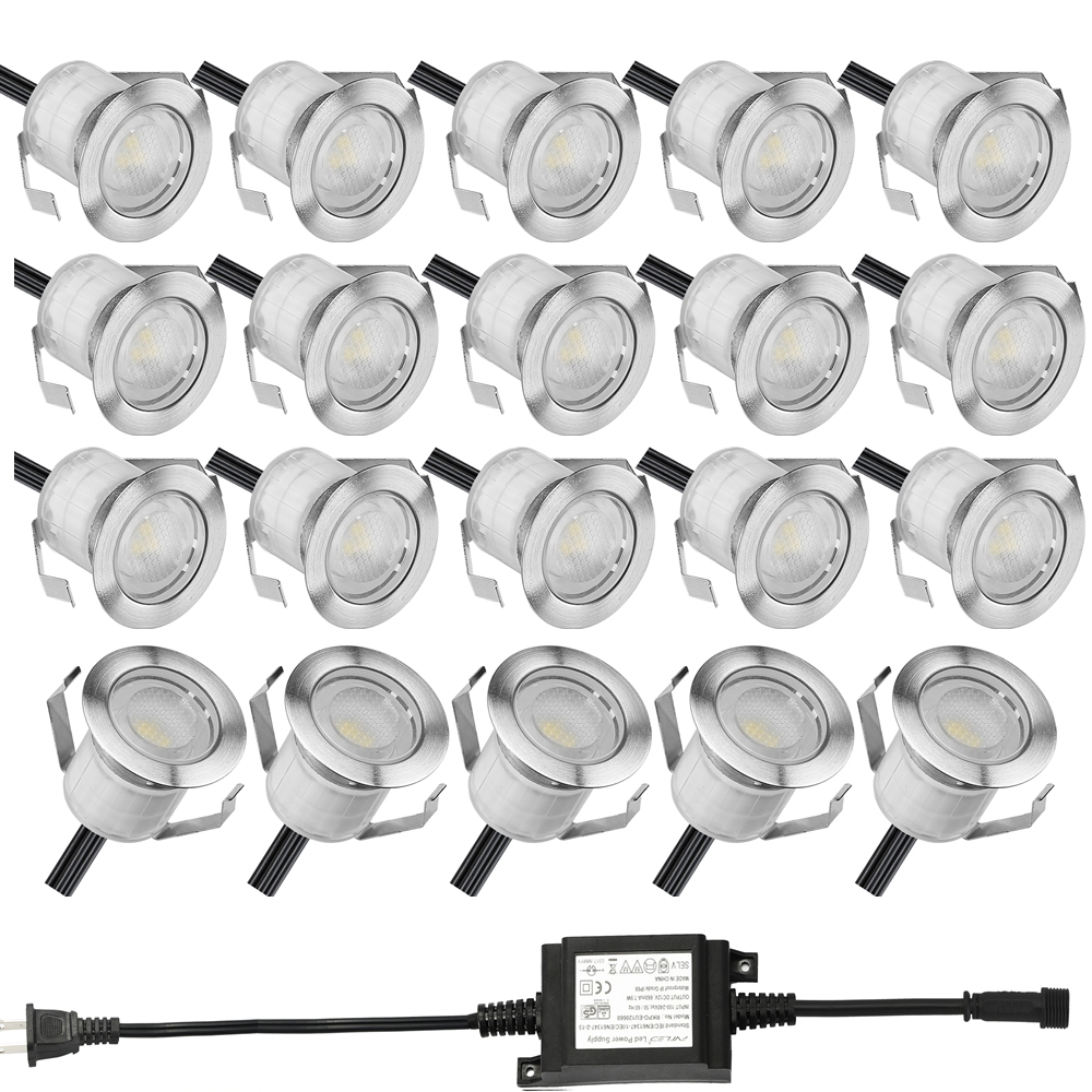 20pcs Set Φ19mm Stainless LED Deck Light Outdoor Garden Path Ground Stairs Lamp