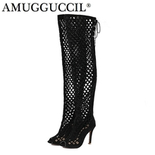 2017 New Plus Big Size 32-46 Black Brown Gray Red Lace Up Zip Cut-Outs Sexy Female Lady Over The Knee Women Summer Boots X1633