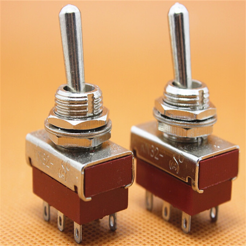 10pcs KN32 toggle switch and rocker switch ON-ON 6 pin 2 way DPDT 5A AC 250V dpdt 2p2t on on 6 solder lug terminals panel mount toggle switch