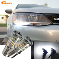 Excellent Xenon HID White Reflector 1156 S25 LED Bulbs For Volkswagen MK6 Jetta 2011 2014 Daytime