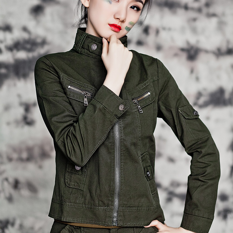 high quality! 2017 spring new women camouflage slim mandarin collar plus size Military style jacket