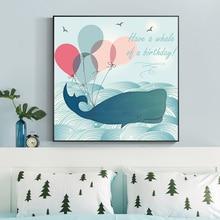 הקריקטורה נורדי פוסטרים והדפסים המודרני בד ציור חמוד סירת לווייתן אוקיינוס Ballon ניתזי בית תפאורה תמונות Framelsee