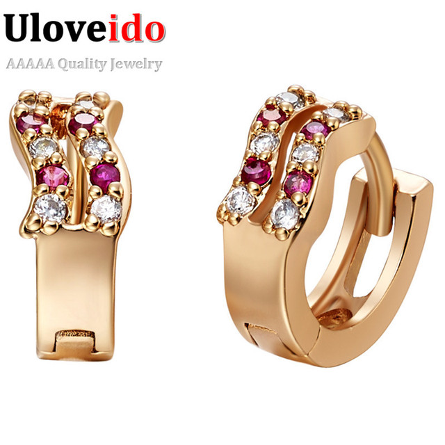 15% Off Vintage Stud Earrings for Women Bijoux Brincos Feminino Earings Jewelry Rose Gold Plated Crystal Earring Uloveido R553