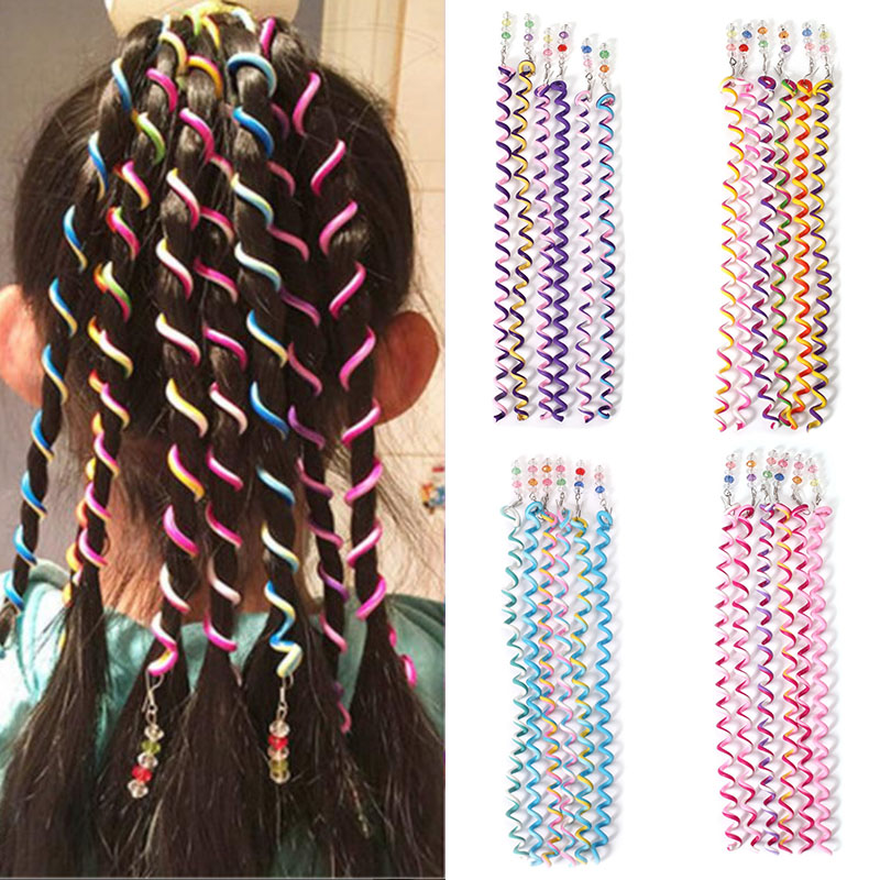 Novelty 6PCS Magic Hair Curler Spiral Rainbow Headbands Roller Curl Rope DIY Crystal Long Elastic Bands For Child