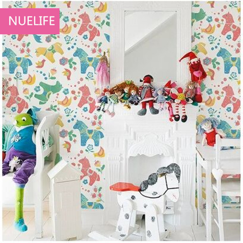 0.53x10m Colorful horse pattern kids room wallpaper cartoon murals boy girl princess bedroom decoration non-woven wallpaper N2 cartoon boy girl design resin desktop decoration