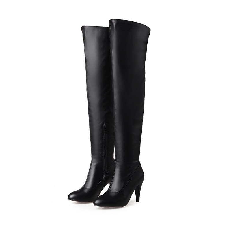 Plus size 41 42 43 44 45 46 women spring autumn fashion zipper pointed toe over the knee high heels long boots female booties 25 new 2017 spring summer women shoes pointed toe high quality brand fashion womens flats ladies plus size 41 sweet flock t179
