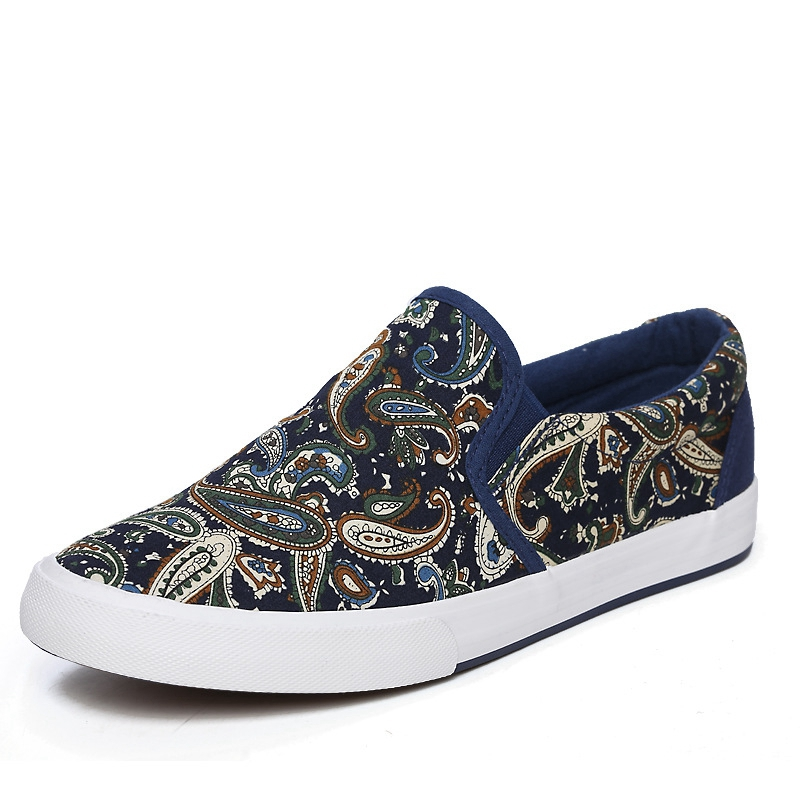 Fashion Graffiti Men Shoes Casual Mens Canvas Shoes Man Loafers Luxury Brand Comfortable Flat Men Slip on Shoes chaussures homme in Men 39 s Casual Shoes from Shoes