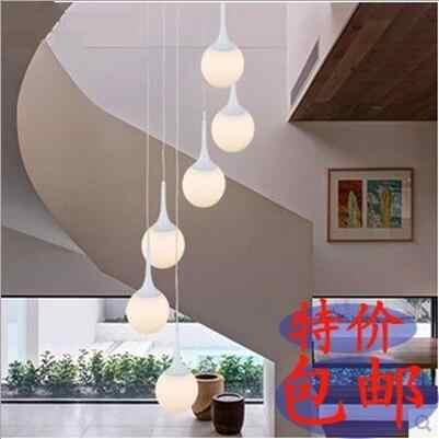 Ledダブル階段ランプ長いシャンデリアヴィラランプレストランクリエイティブボール現代のシンプルなレストランライトリビングルーム照明回転ランプ