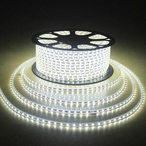 Laimaik AC 220 В светодиодная лента Водонепроницаемый IP67 LED Клейкие ленты 60leds/M 5050SMD rgb гибкая 5 м 10 М Строка Освещение с Мощность plug