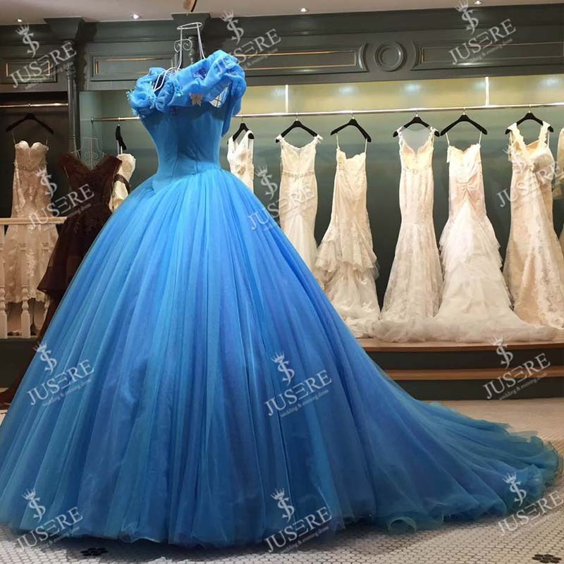 c5bf1ec934b Jusere Custom Real Picture Cinderella Blue Ball Gown Dresses Embroidery  Puffy Floor-length Gown High End Evening Dresses