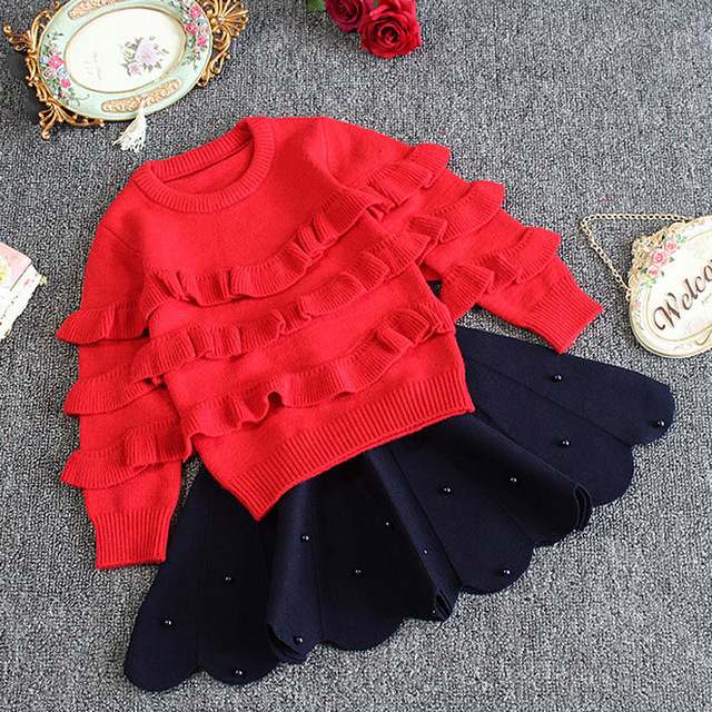 kids sweaters girls 2017 new fashion toddler sweater solid ruffles kids christmas sweater kids winter knitted sweater for girls